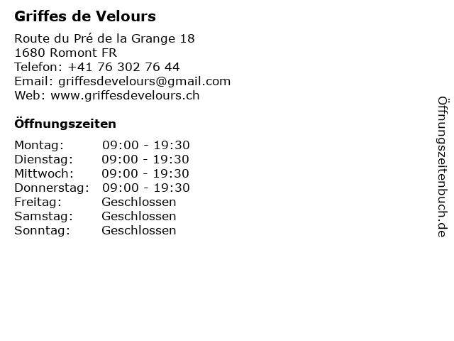 Griffes de Velours in Romont FR: Adresse und Öffnungszeiten