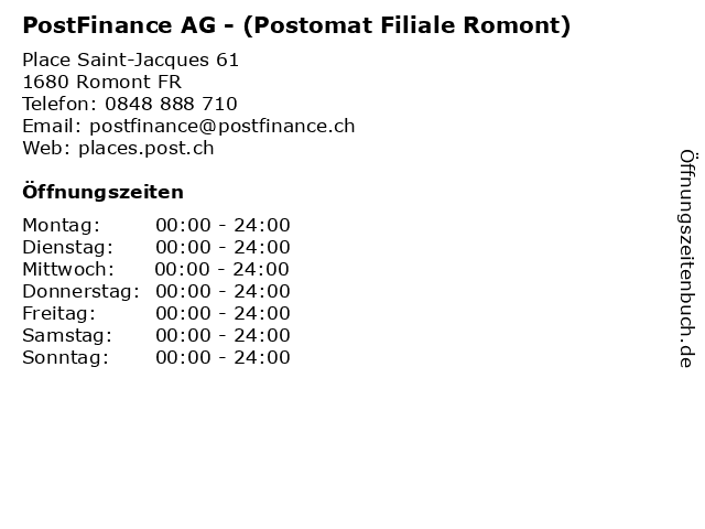 PostFinance AG - (Postomat Filiale Romont) in Romont FR: Adresse und Öffnungszeiten