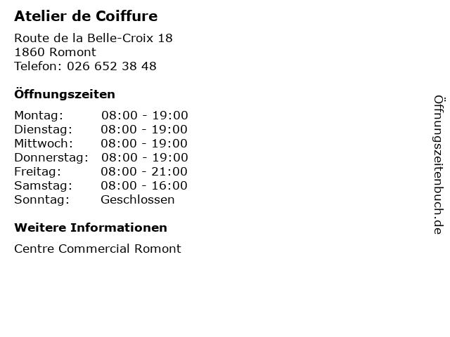 Atelier de Coiffure in Romont: Adresse und Öffnungszeiten