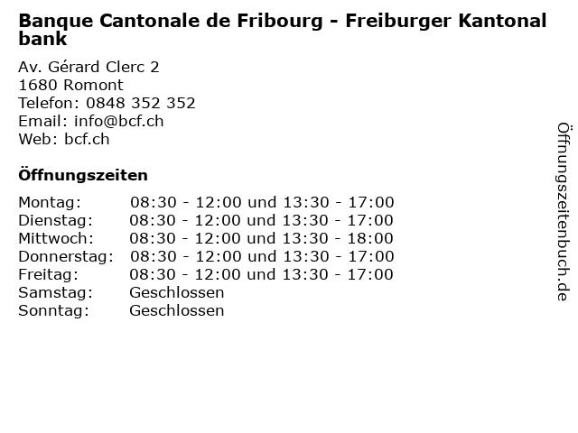 Banque Cantonale de Fribourg - Freiburger Kantonalbank in Romont: Adresse und Öffnungszeiten