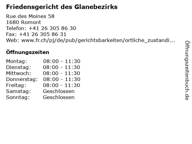 Friedensgericht des Glanebezirks in Romont: Adresse und Öffnungszeiten
