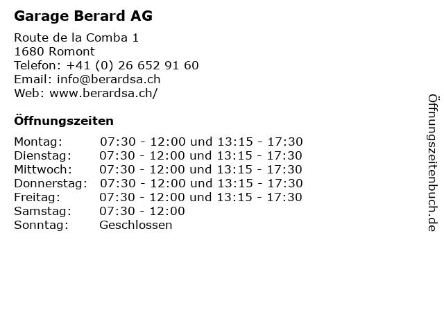 Garage Berard AG in Romont: Adresse und Öffnungszeiten