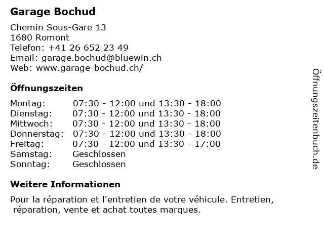 Garage Bochud in Romont: Adresse und Öffnungszeiten
