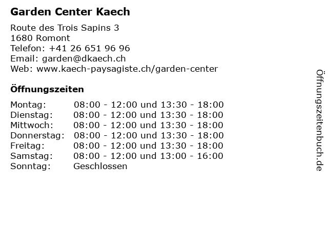 Garden Center Kaech in Romont: Adresse und Öffnungszeiten