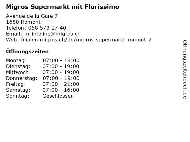 Migros Supermarkt in Romont: Adresse und Öffnungszeiten