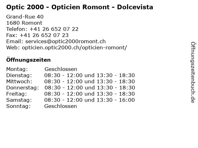 Optic 2000 - Opticien Romont - Dolcevista in Romont: Adresse und Öffnungszeiten