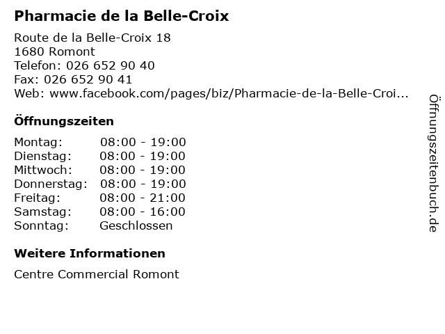 Pharmacie de la Belle-Croix in Romont: Adresse und Öffnungszeiten