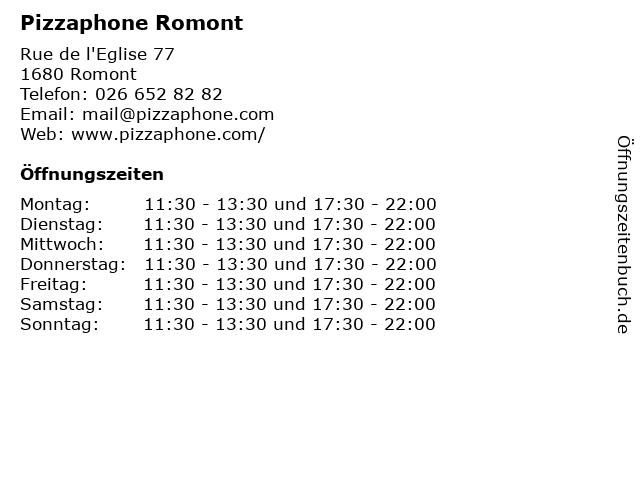 Pizzaphone Romont in Romont: Adresse und Öffnungszeiten