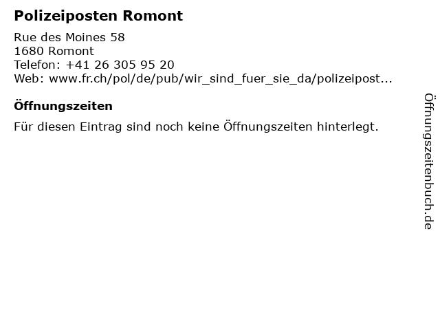Polizeiposten Romont in Romont: Adresse und Öffnungszeiten
