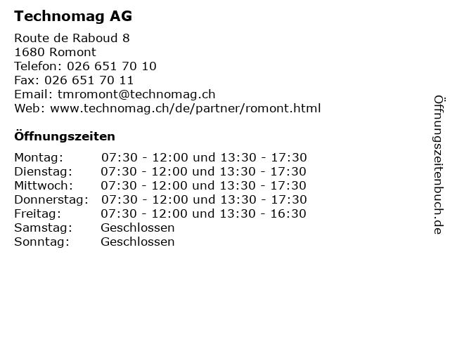 Technomag AG in Romont: Adresse und Öffnungszeiten