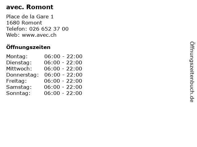 avec. Romont in Romont: Adresse und Öffnungszeiten
