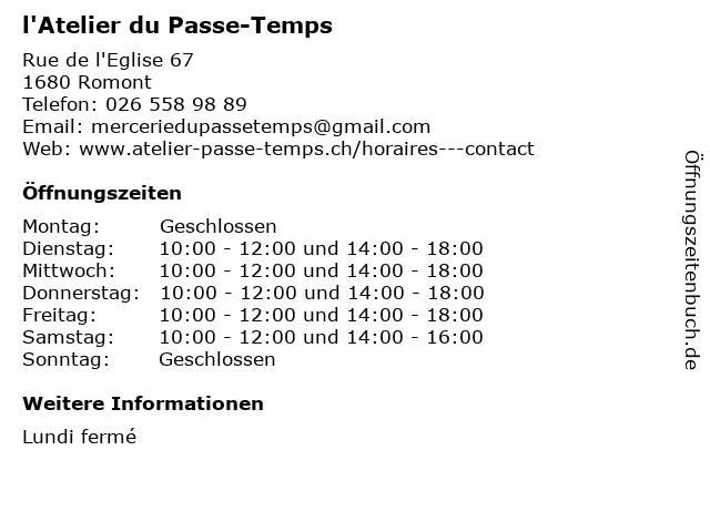 l'Atelier du Passe-Temps in Romont: Adresse und Öffnungszeiten