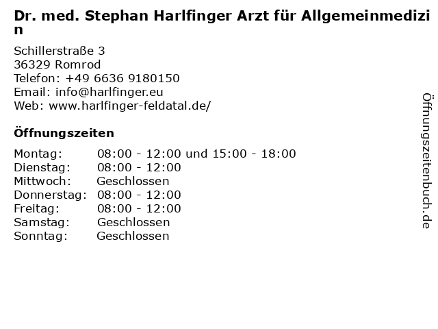 HZ Harlfinger (Dr. S. Harlfinger) in Romrod: Adresse und Öffnungszeiten