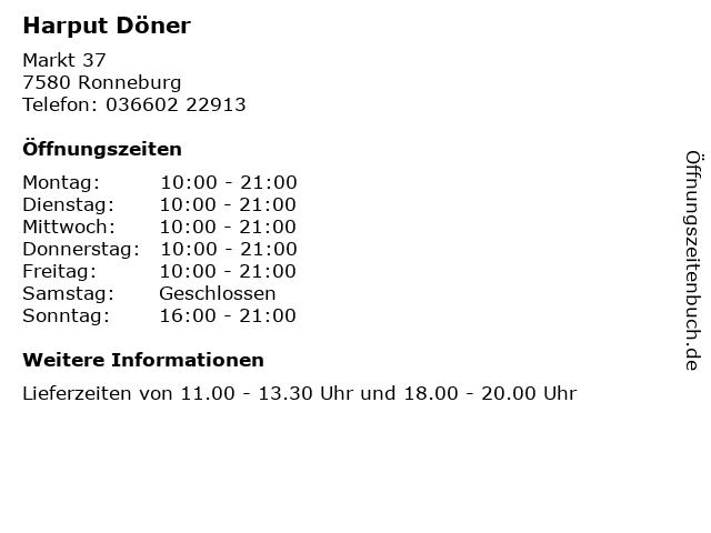 Harput Döner in Ronneburg: Adresse und Öffnungszeiten