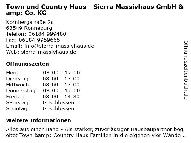 Sierra Massivhaus GmbH & Co. KG in Ronneburg: Adresse und Öffnungszeiten