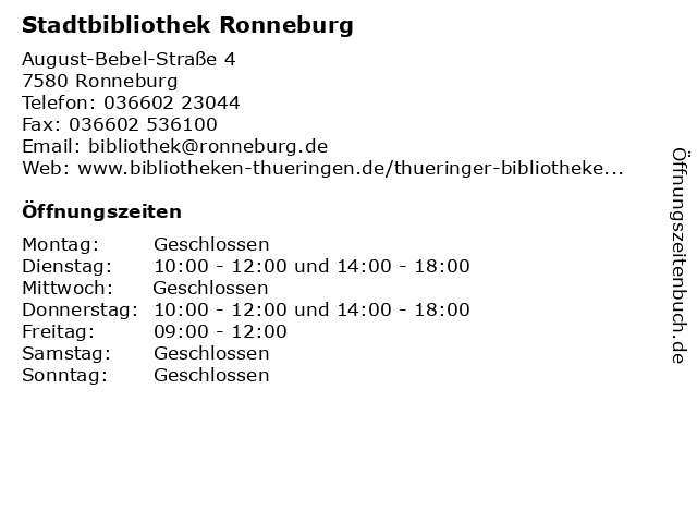 Stadtbibliothek Ronneburg in Ronneburg: Adresse und Öffnungszeiten