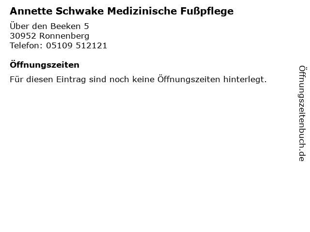 Annette Schwake Medizinische Fußpflege in Ronnenberg: Adresse und Öffnungszeiten