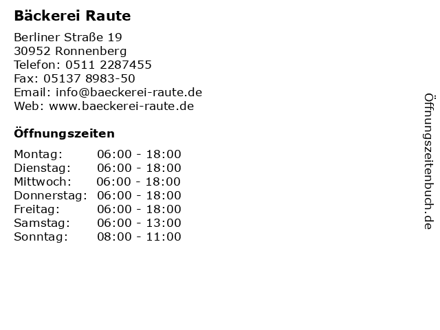 Bäckerei Raute in Ronnenberg: Adresse und Öffnungszeiten