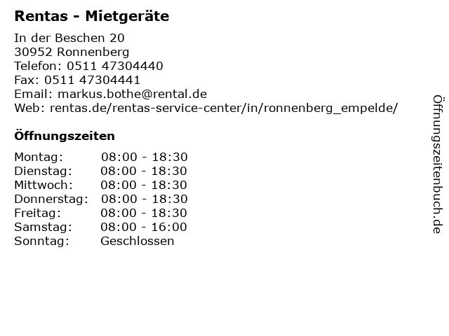 Rentas - Mietgeräte in Ronnenberg: Adresse und Öffnungszeiten