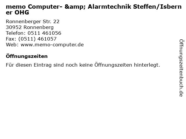 memo Computer- & Alarmtechnik Steffen/Isberner OHG in Ronnenberg: Adresse und Öffnungszeiten