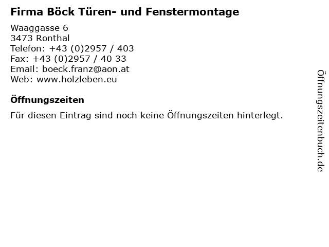 Firma Böck Türen- und Fenstermontage in Ronthal: Adresse und Öffnungszeiten