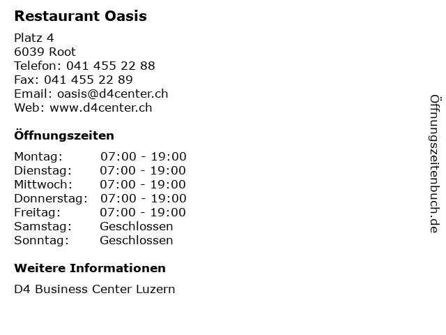 Restaurant Oasis in Root: Adresse und Öffnungszeiten