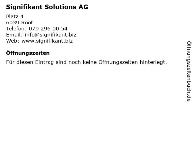 Signifikant Solutions AG in Root: Adresse und Öffnungszeiten