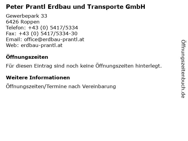 Peter Prantl Erdbau und Transporte GmbH in Roppen: Adresse und Öffnungszeiten