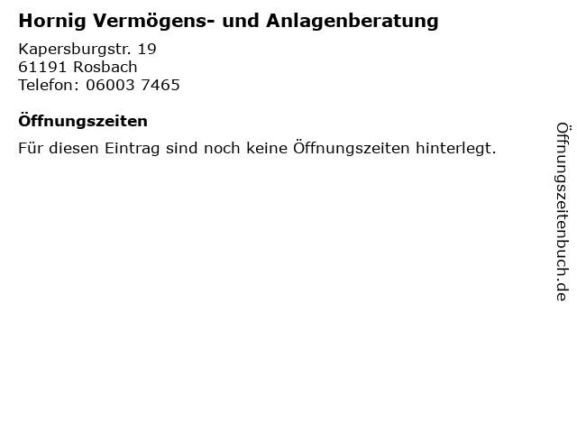 Hornig Vermögens- und Anlagenberatung in Rosbach: Adresse und Öffnungszeiten
