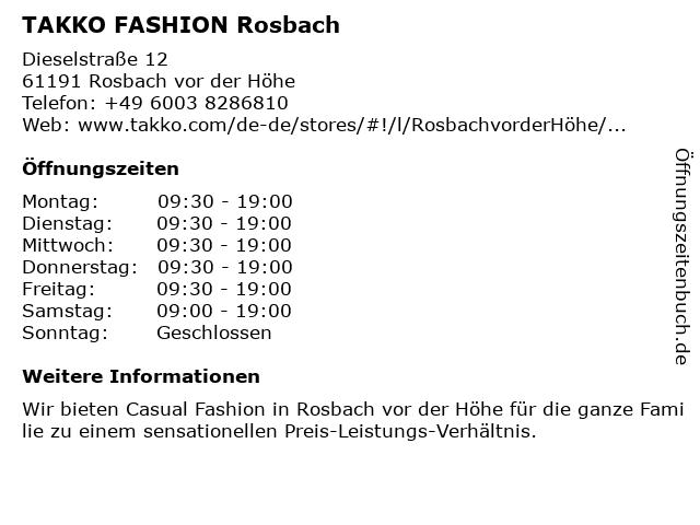 Takko fashion in Rosbach: Adresse und Öffnungszeiten