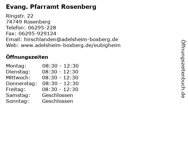 Evang. Pfarramt Rosenberg in Rosenberg: Adresse und Öffnungszeiten