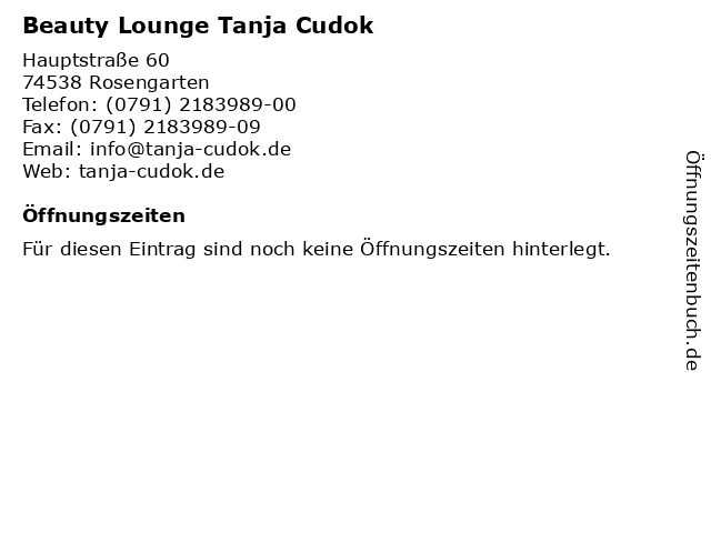 Beauty Lounge Tanja Cudok in Rosengarten: Adresse und Öffnungszeiten