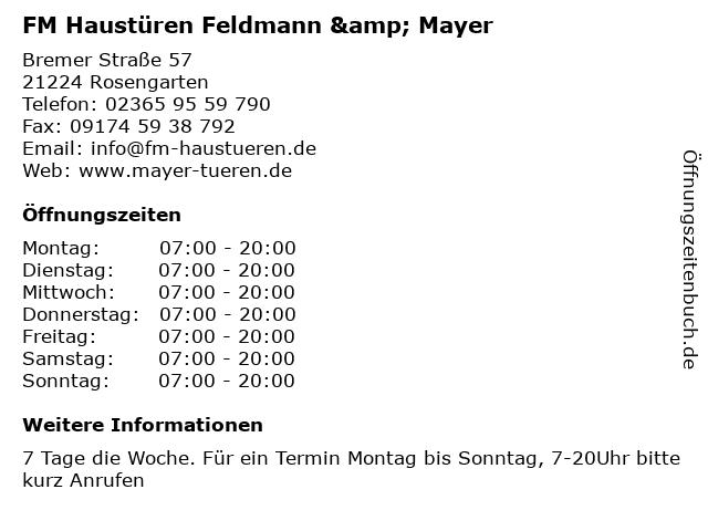 "Super ᐅ Öffnungszeiten ""FM Haustüren Feldmann & Mayer"" | Bremer Straße IA38"