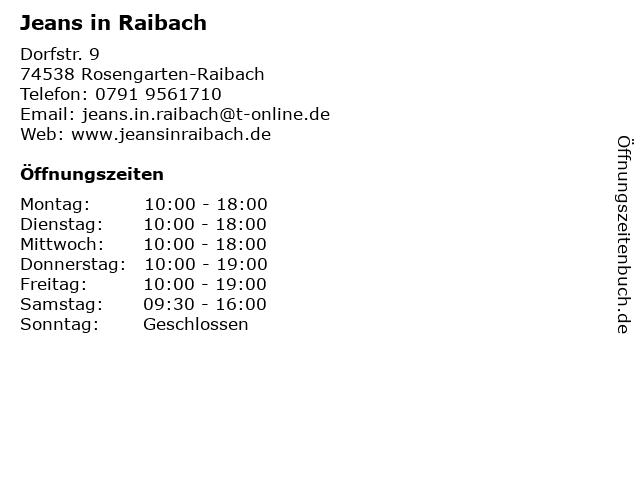 Jeans in Raibach in Rosengarten-Raibach: Adresse und Öffnungszeiten