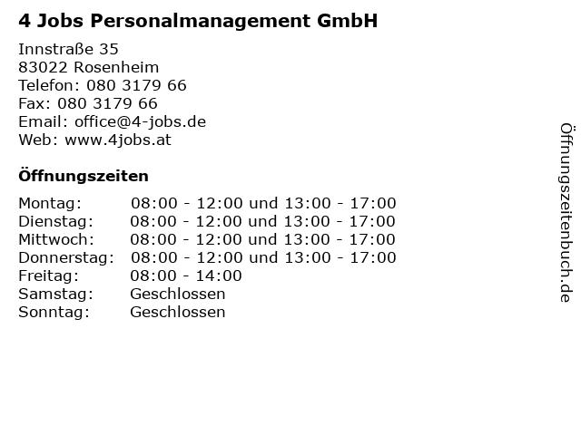 4 Jobs Personalmanagement GmbH in Rosenheim: Adresse und Öffnungszeiten