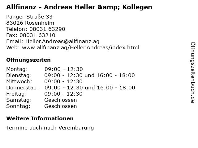 Allfinanz - Andreas Heller & Kollegen in Rosenheim: Adresse und Öffnungszeiten