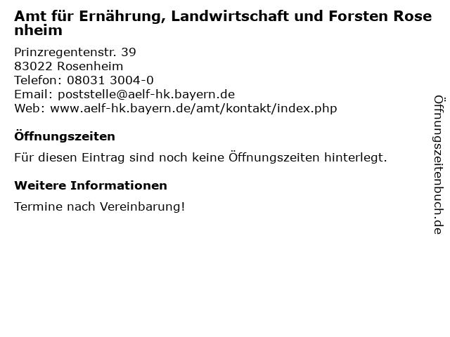 Amt für Ernährung, Landwirtschaft und Forsten Rosenheim in Rosenheim: Adresse und Öffnungszeiten