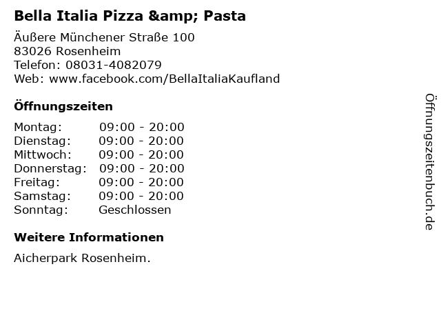 Bella Italia Pizza & Pasta in Rosenheim: Adresse und Öffnungszeiten