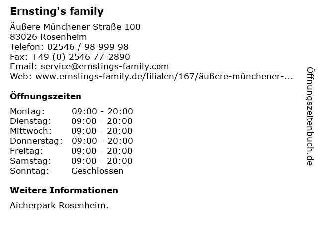 Ernsting's family GmbH & Co. KG in Rosenheim: Adresse und Öffnungszeiten