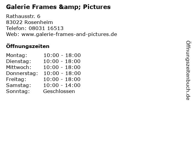 Galerie Frames & Pictures in Rosenheim: Adresse und Öffnungszeiten