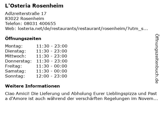 L'Osteria Rosenheim in Rosenheim: Adresse und Öffnungszeiten