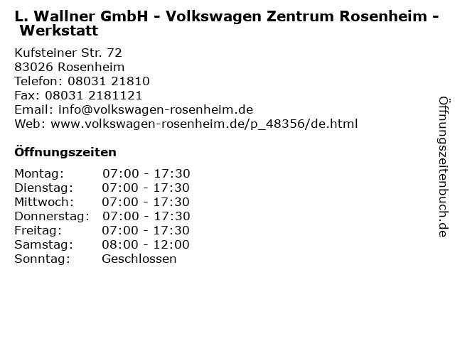 Volkswagen Zentrum Rosenheim : ffnungszeiten l wallner gmbh volkswagen zentrum rosenheim werkstatt kufsteiner str ~ Watch28wear.com Haus und Dekorationen