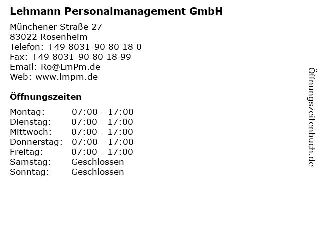 Lehmann Personalmanagement GmbH in Rosenheim: Adresse und Öffnungszeiten