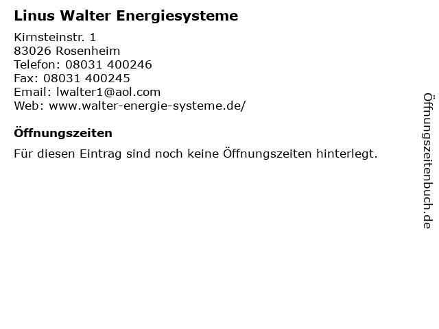 Linus Walter Energiesysteme in Rosenheim: Adresse und Öffnungszeiten