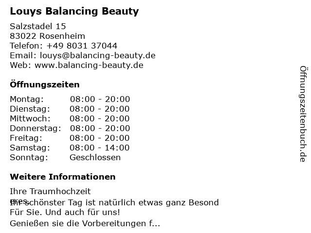 Louys Balancing Beauty in Rosenheim: Adresse und Öffnungszeiten
