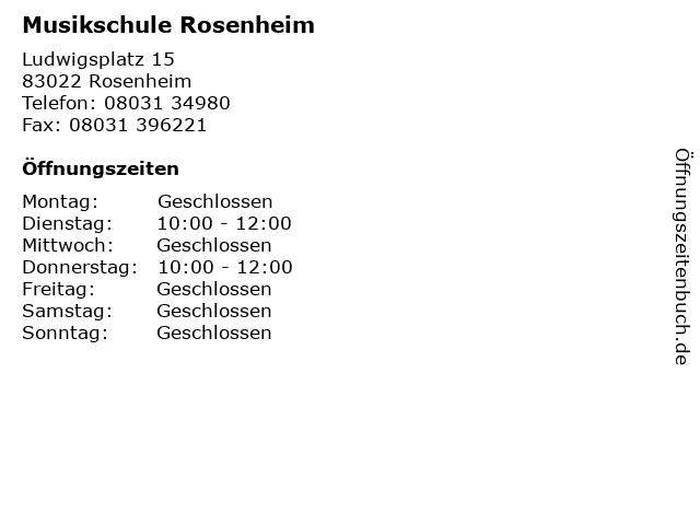 Musikschule Rosenheim in Rosenheim: Adresse und Öffnungszeiten