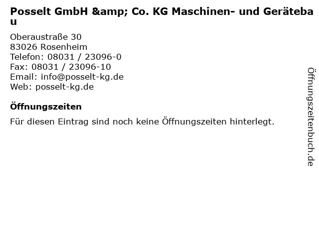 Posselt GmbH & Co. KG Maschinen- und Gerätebau in Rosenheim: Adresse und Öffnungszeiten