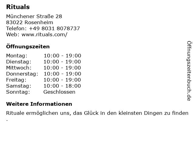 RITUALS Home & Body Cosmetics in Rosenheim: Adresse und Öffnungszeiten
