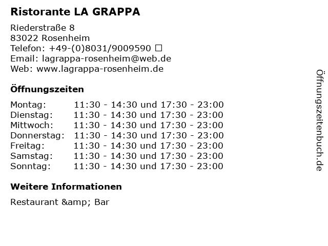 Ristorante LA GRAPPA in Rosenheim: Adresse und Öffnungszeiten