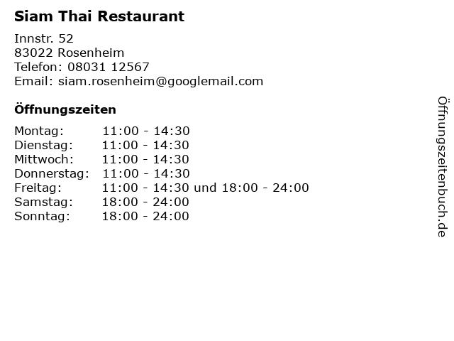 Siam Thai Restaurant in Rosenheim: Adresse und Öffnungszeiten